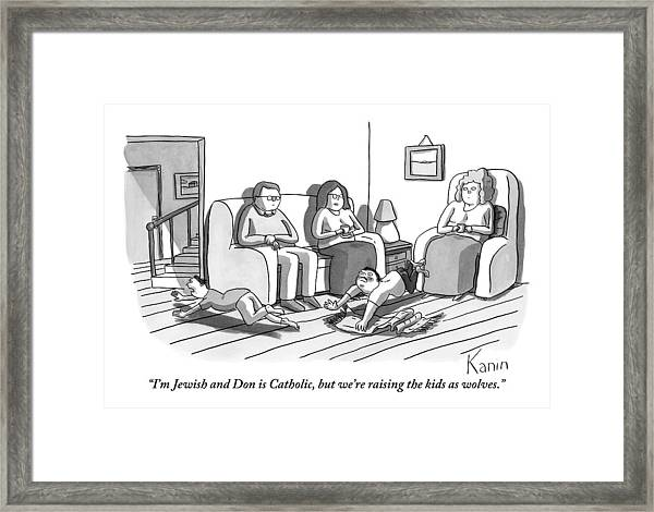 Three People Are Sitting In A Living Room Framed Print