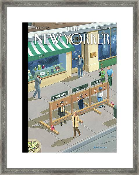 Three People In Stocks Which Read: Smoking Framed Print by Bruce McCall