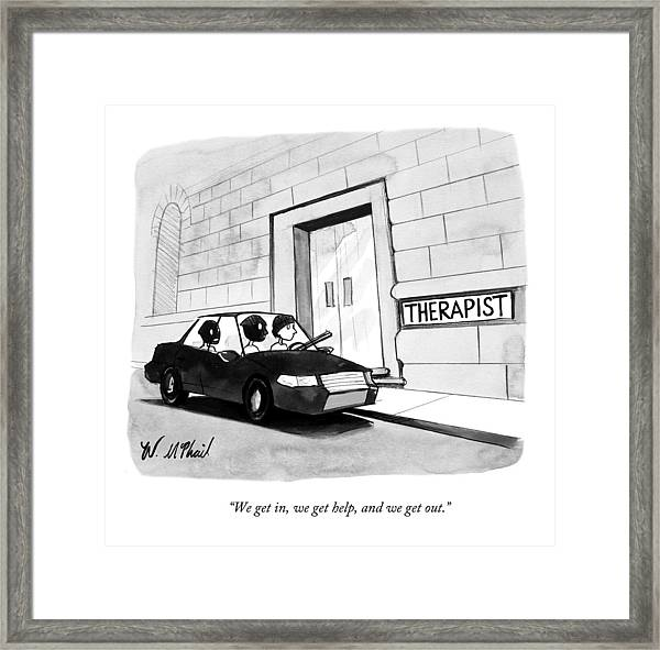 Three Robbers Sit In A Car Outside A Building Framed Print