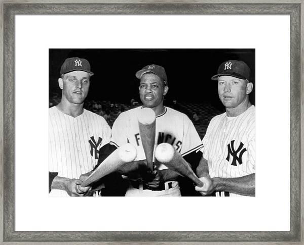 Three Slugging Outfielders Framed Print