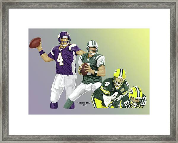 Three Stages Of Bret Favre Framed Print