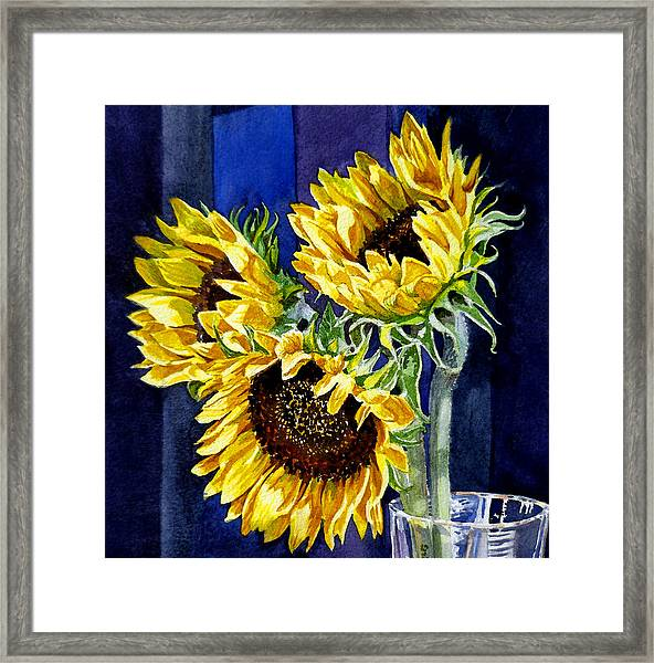 Three Sunny Flowers Framed Print