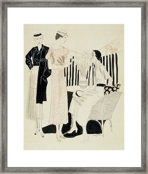 Three Woman Around A Table With A Vase Of Flowers Framed Print