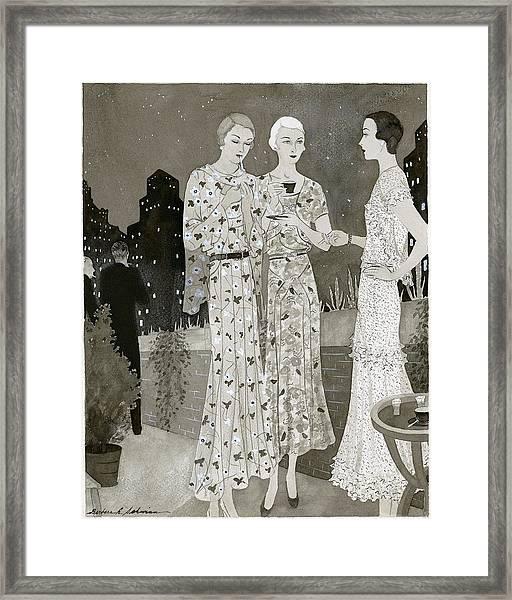 Three Women Outdoors Wears Jay-thorpe Framed Print by Barbara E. Schwinn