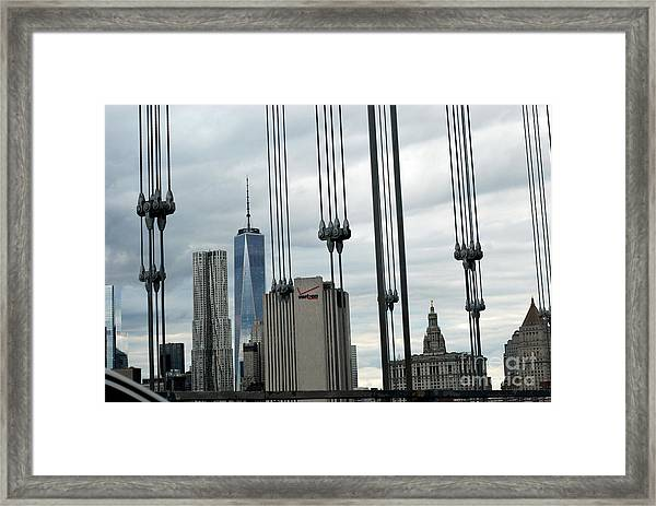 Through The Bridge Cables Framed Print by Andrea Simon
