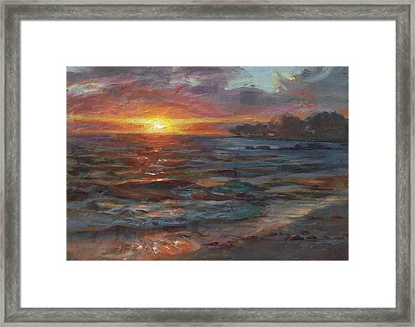 Through The Vog - Hawaii Beach Sunset Framed Print