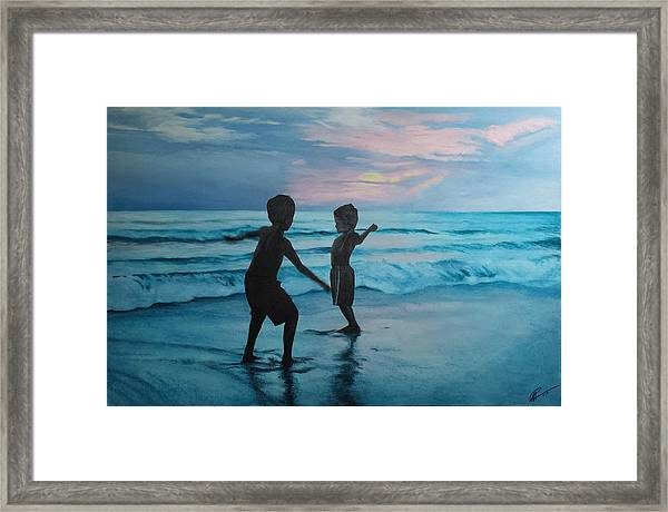 Throwing Sand Framed Print