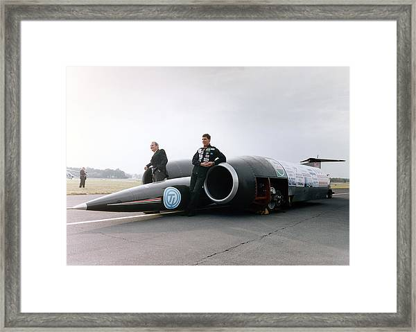 Thrust Ssc Supersonic Car And Team Framed Print by Science Photo Library