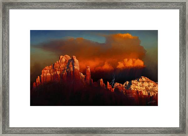 Thunderstorm Over Sedona Framed Print