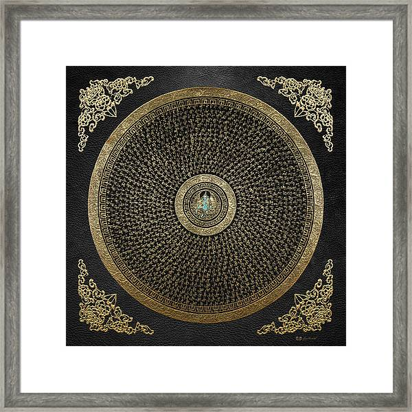 Tibetan Thangka - Green Tara Goddess Mandala With Mantra In Gold On Black Framed Print