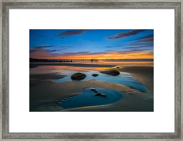 Tide Pool Reflections At Scripps Pier Framed Print