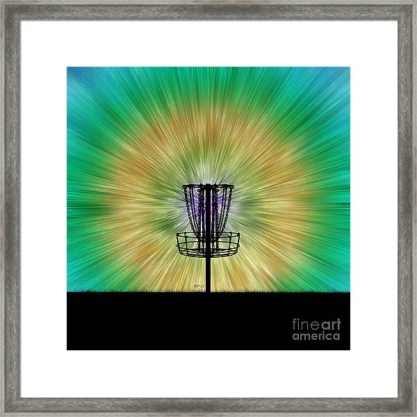 Tie Dye Disc Golf Basket Framed Print