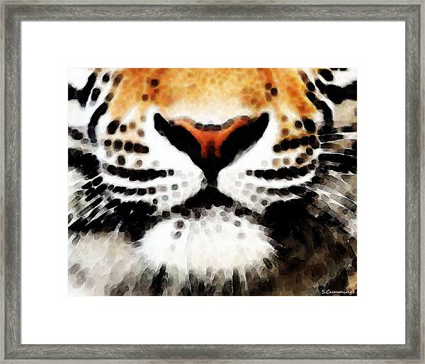 Tiger Art - Burning Bright Framed Print