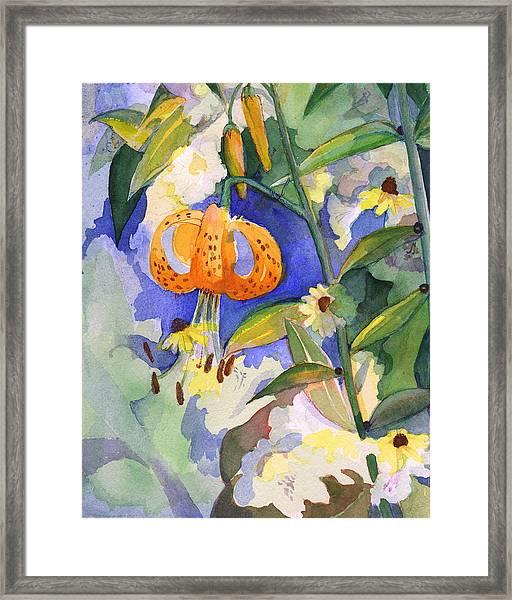 Tiger Lily In Dappled Light  Framed Print