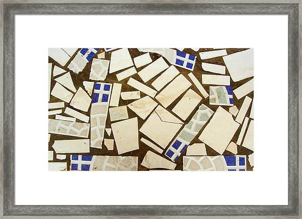 Tile Pieces In Brown Grout Framed Print