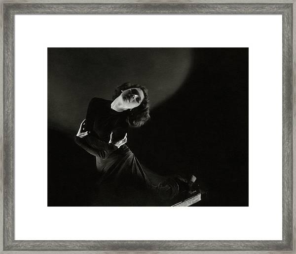 Tilly Losch Wearing A Dress Framed Print