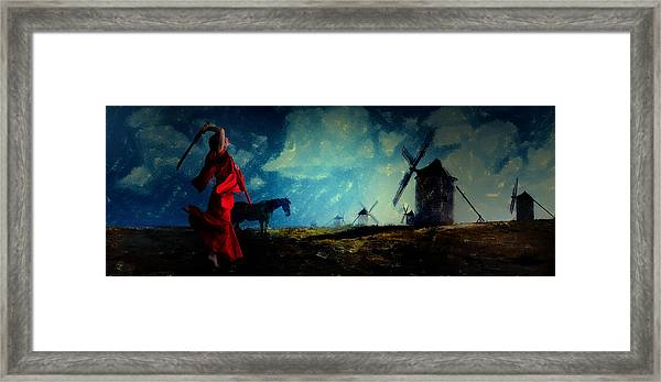 Tilting At Windmills Framed Print
