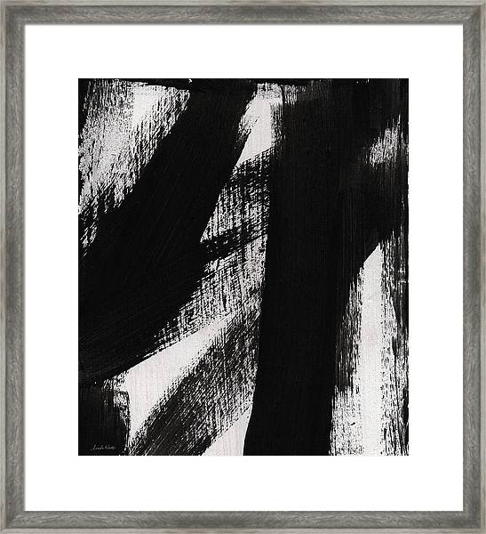 Timber- Vertical Abstract Black And White Painting Framed Print