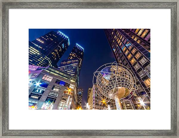 Time Warner And Trump Towers At Night Framed Print