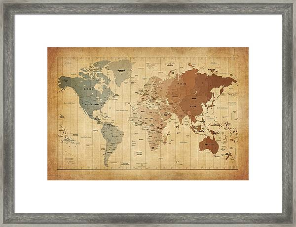 Time Zones Map Of The World Framed Print