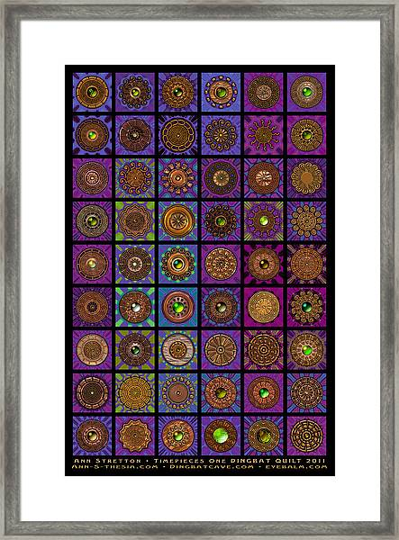 Timepieces One Dingbat Quilt Framed Print