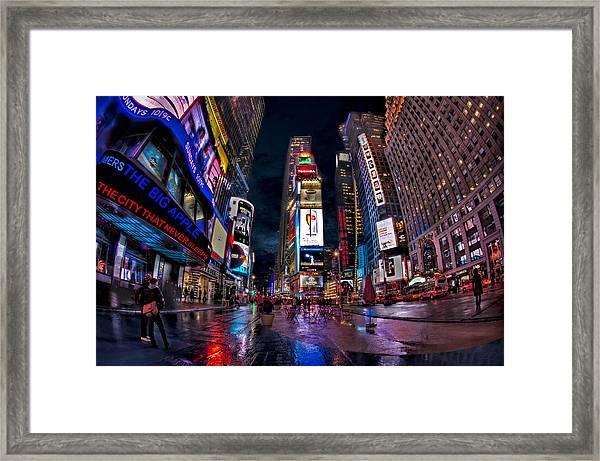 Framed Print featuring the photograph Times Square New York City The City That Never Sleeps by Susan Candelario