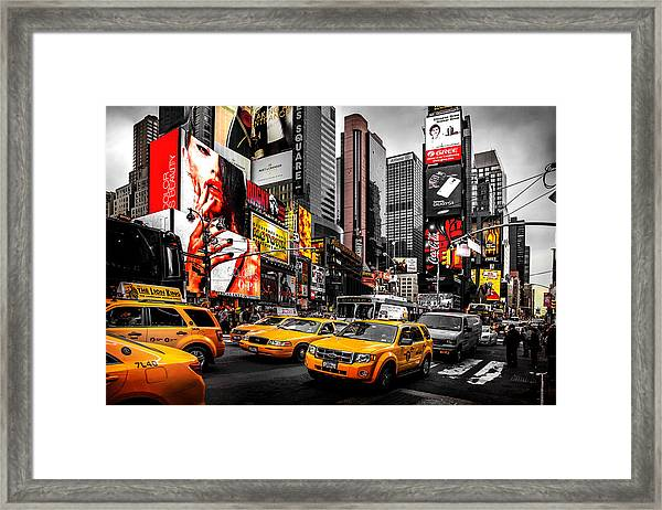 Times Square Taxis Framed Print