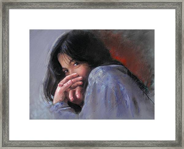 Timid Girl Framed Print