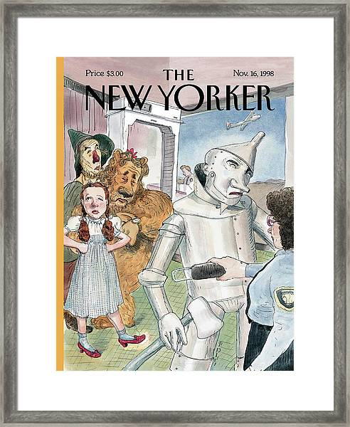 Tin Man Stopped By Security At The Airport Framed Print