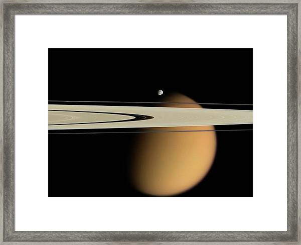 Titan And Saturn's Rings Framed Print by Nasa/jpl/space Science Institute