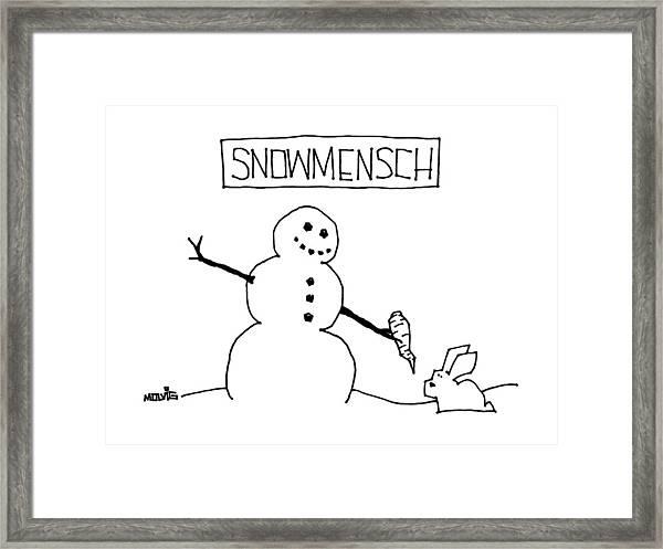 Title: Snowmensch Snowman Hands His Carrot Nose Framed Print