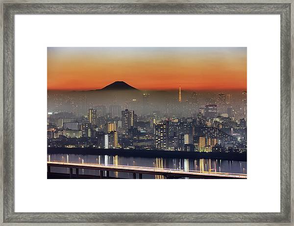 Tokyo Mt Fuji Fog Framed Print