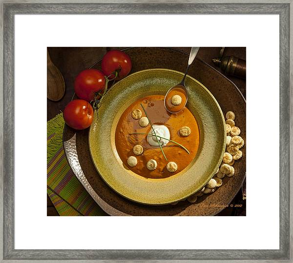 Tomato Bisque Soup Framed Print by Ron Schwager