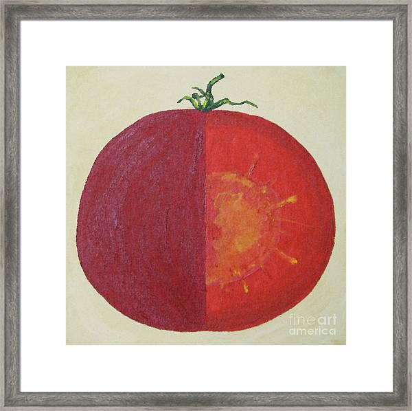 Tomato In Two Reds Acrylic On Canvas Board By Dana Carroll Framed Print by Dana Carroll