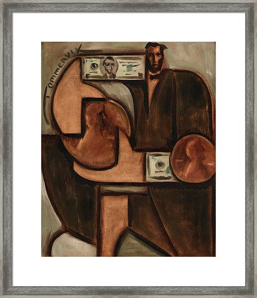 Tommervik Abstract Abraham Lincoln Penny Art Print Framed Print