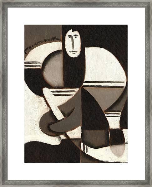Tommervik Abstract Cubism Hockey Player Art Print Framed Print