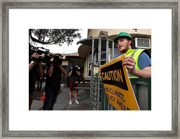Tony Abbott Visits Adelaide As Marginal Seats Threatened Framed Print by Lisa Maree Williams