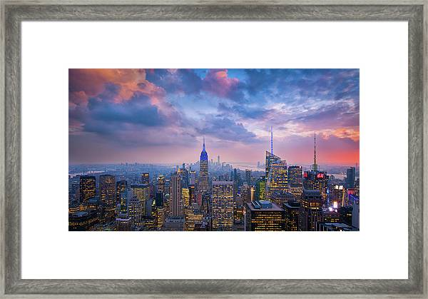 Top Of The Rock Framed Print by Michael Zheng