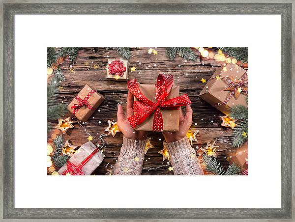 Top View Of Woman Hands With Gift Box Framed Print by Kesu01