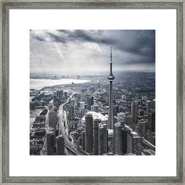 Toronto Aerial View During A Storm Framed Print by Franckreporter