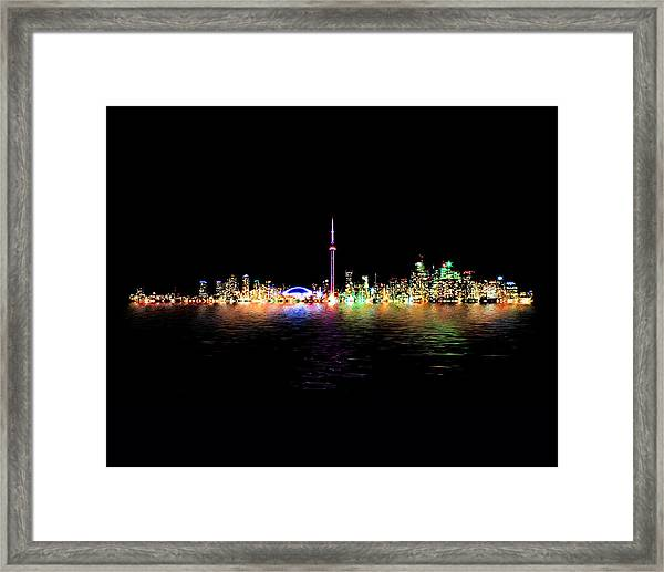 Toronto Skyline At Night From Centre Island Reflection Framed Print