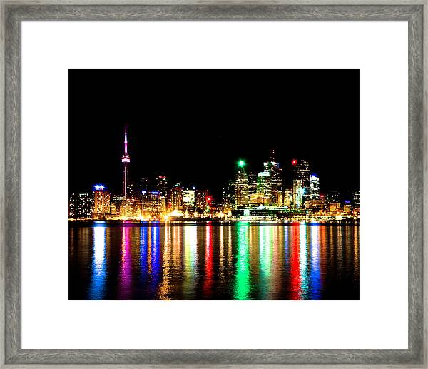 Toronto Skyline Night Framed Print