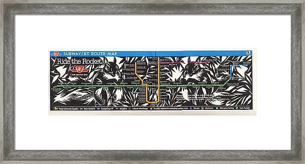Toronto Subway Map Squirrels Framed Print