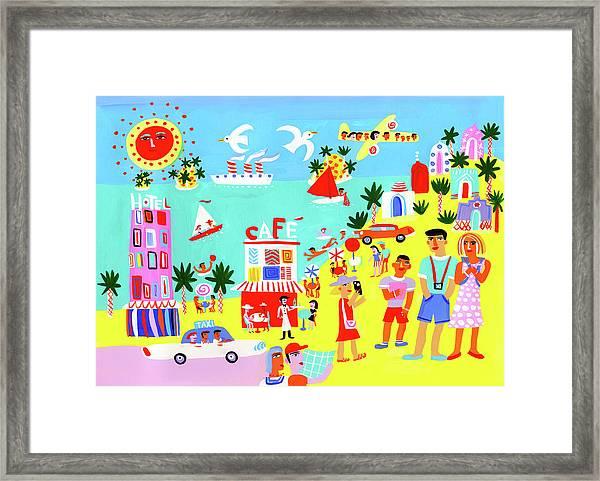 Tourists Enjoying Sightseeing On Summer Framed Print