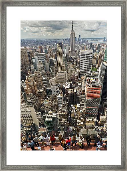 Tourists Viewing Downtown Manhattan Framed Print
