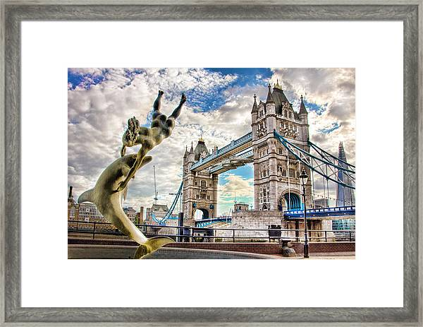Tower Bridge And Girl With A Dolphin Framed Print