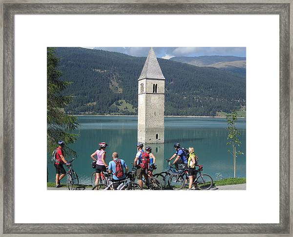 Tower In The Lake Framed Print