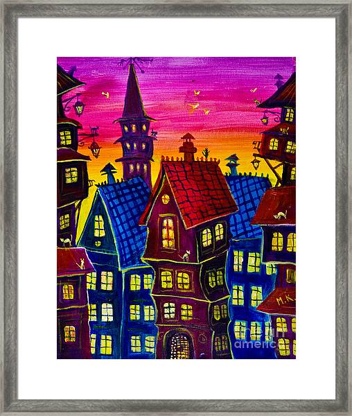 Town At Twilight Framed Print
