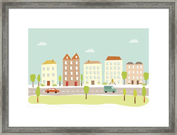Town Houses Framed Print by Amathers