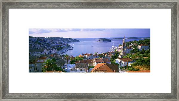 Town On The Waterfront, Hvar Island Framed Print